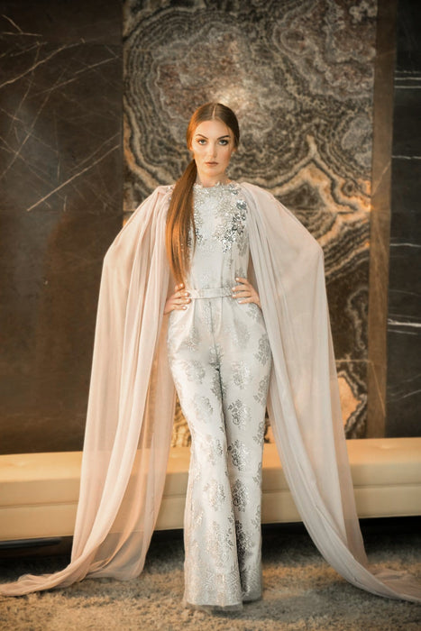 Silver lace jumpsuit with a handmade embroidery with a pure silk chiffon on the sides