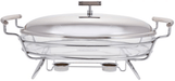 Oval food warmer with glass dish & stainless steel lid exxab.com