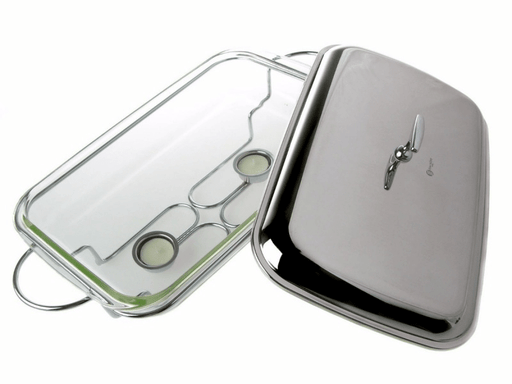 Reqtangle food warmer with glass dish & stainless steel lid 2.9L