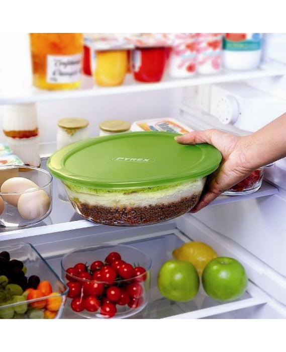 Pyrex 207P000/208P000 Round cook & store glass with green lid exxab.com