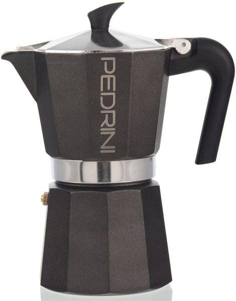 Pedrini 911162 Coffee Maker Paint black - Gray ALUMI. 2 Cups Bakalite Handle - Safety Valve