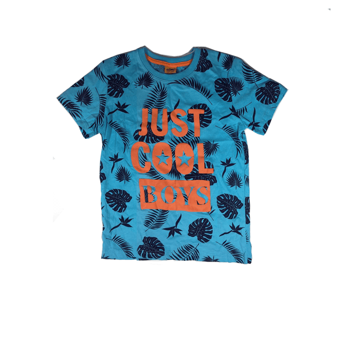 "Kids Blue T-shirt ""Just Cool Boys"" with modern Summery design exxab.com"