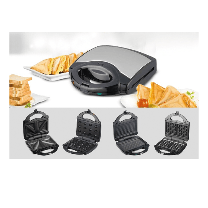 4 in 1 Grill Griddle Sandwich Maker with 3 Sets of Detachable Non-stick Plates exxab.com