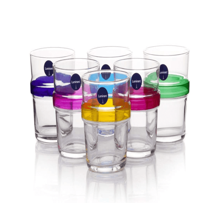 Luminarc N1598 acrobate rainbow short tumbler cups, set of 6 exxab.com