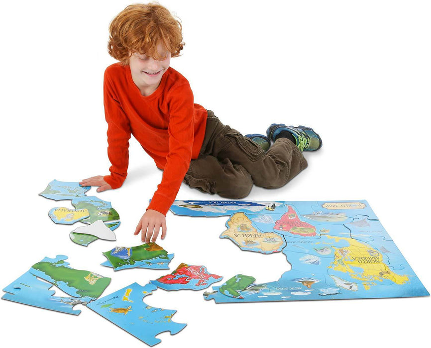 Melissa A Doug 446 World Map Floor (33pcs) -Floor Puzzles exxab.com