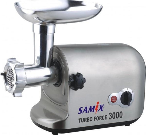 This Samix MG-300 400W 2-Speed Motor-Powered Meat Grinder is built to last. Grind meats into different textures with 3 chopping options, reverse function and stainless steel blades. It also comes with stainless steel tray.