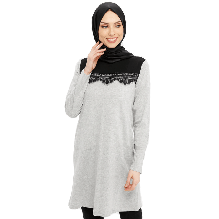 Women's viscose long sleeve & crew neck top with black lace