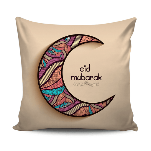 Eid Mubarak cushion decorative with colorful moon pattern - exxab.com