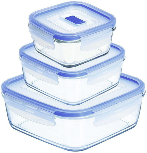 Luminarc N2622 Set of 3 Cook & Store Glass Storage Set - squares (0.35 - 0.77 - 1.22 L)