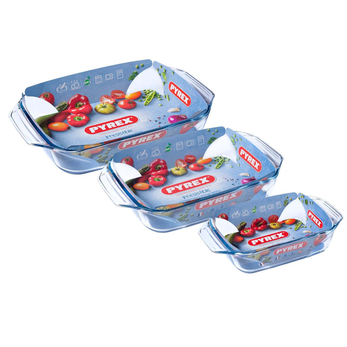 Pyrex 912S735 Optimum Rectangular Roaster w/handle Set of 3 pcs - exxab.com