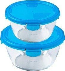 Pyrex 912S932 Set of 2 round Cook & Store Glass Storage Set - Assorted colors exxab.com