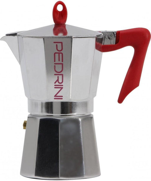 Pedrini 9081-0 Coffee Maker  POLISHED ALUMI. 1 Cup Pakalite Red Handle - Safety Valve