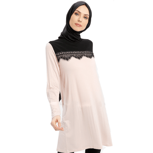 Women's viscose long sleeve & crew neck top with black lace - exxab.com