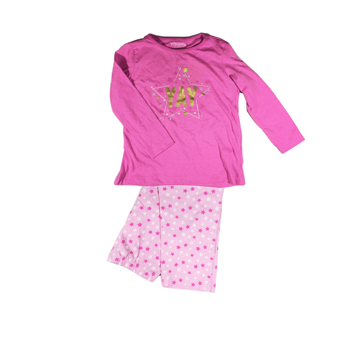 "2Pc Kids ""Yay""  Pajamas one size for girls. exxab.com"