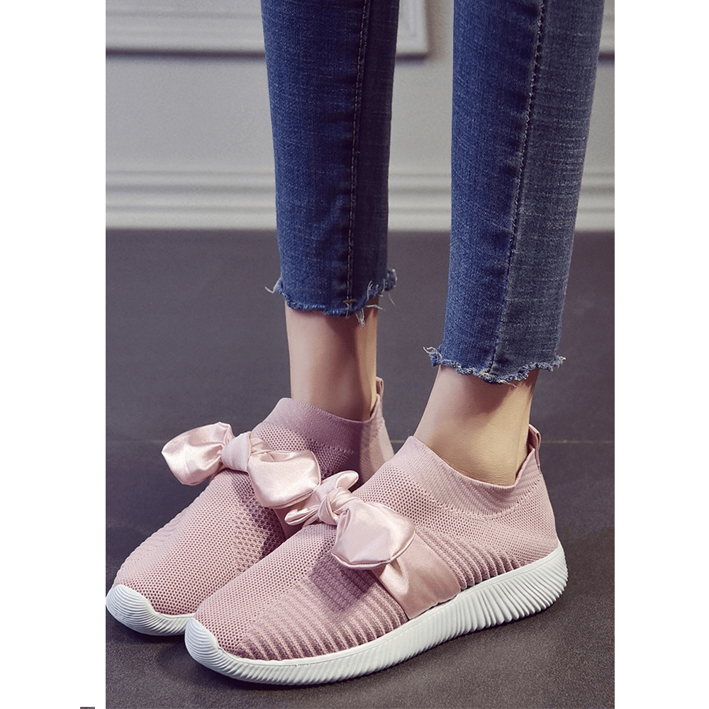 Women's sports shoes solid color knitted stylish bow design shoes with fionka decor