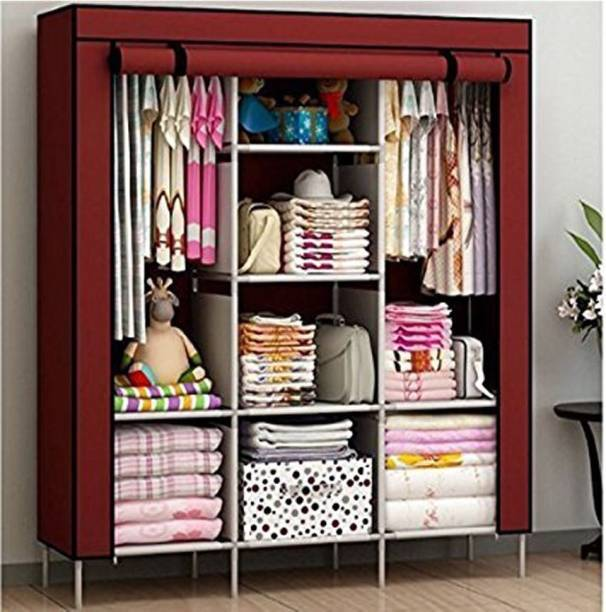 Fabric foldable wardrobe multipurpose clothes closet with 3 door and roll curtain, storage organizer exxab.com