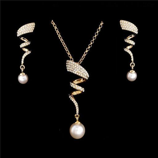 Vintage Imitation Pearl necklace Gold jewelry set for women Clear Crystal Elegant Party Gift Fashion Costume Jewelry Sets exxab.com