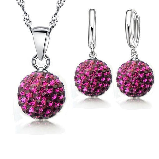 Shiny Latest Jewelry Set 925 Sterling Silver Crystal Pave Disco Ball Lever Back Earring Pendant Necklace Women - exxab.com