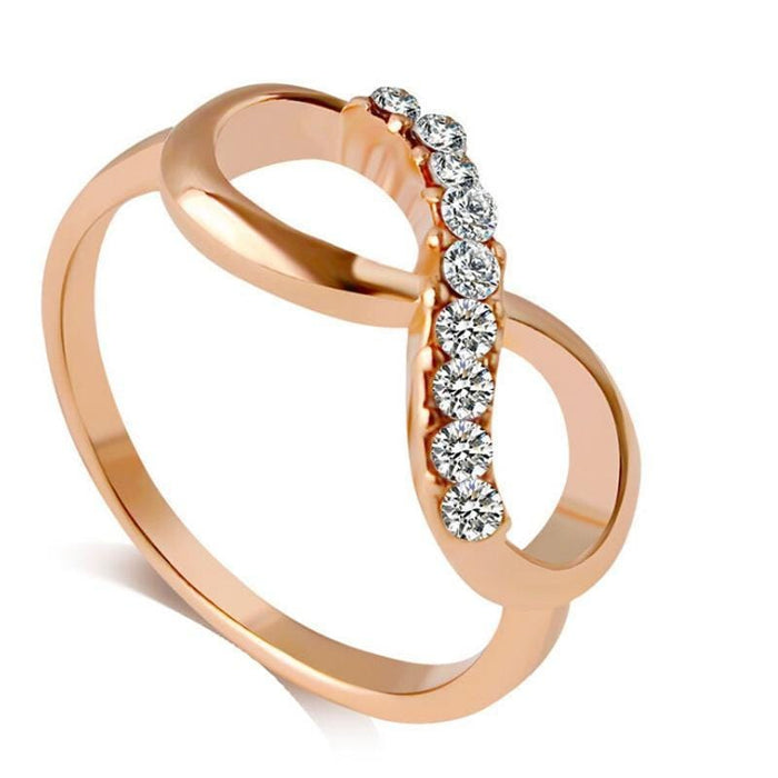 iMucci New Design Alloy Crystal Ring Gold Color Infinity Ring jewelry for women - exxab.com
