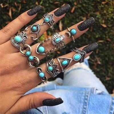 Silver Ring Geometric Elephant Flower Green Rhinestone Knuckle Rings Midi Finger Rings Jewelry 9 exxab.com