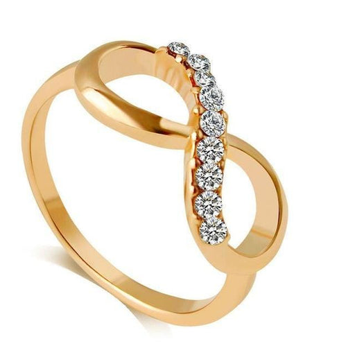 iMucci New Design Alloy Crystal Ring Gold Color Infinity Ring jewelry for women exxab.com