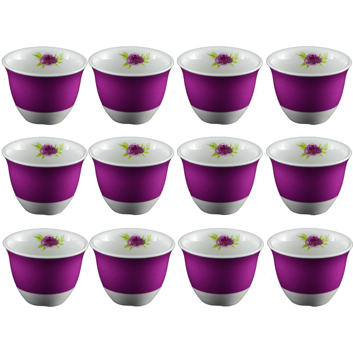 Arabic coffee cups purple 12 pcs - exxab.com