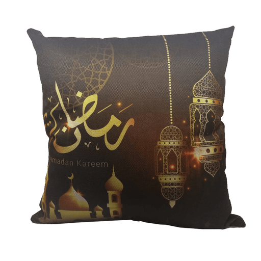 Ramadan decoration cushion with gold lantern & mosque design - exxab.com