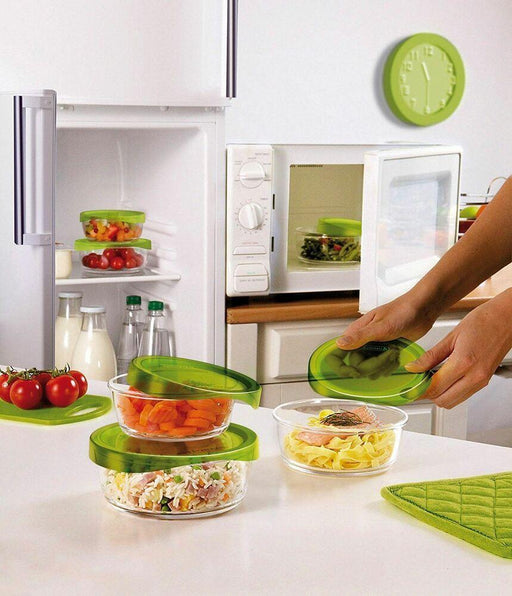 Luminarc N0018 Set of 3 Round cook & store glass with green lid exxab.com