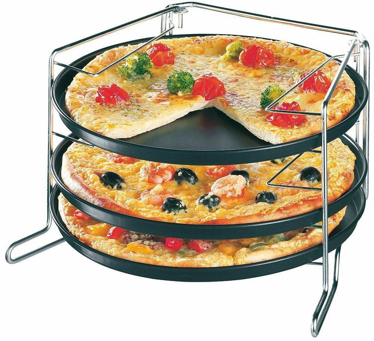 Zenker 7515 Special Countries Three Tiered pizza pan set 4 Pieces, 3 non-stick round 29 cm pizza pan with stand - exxab.com