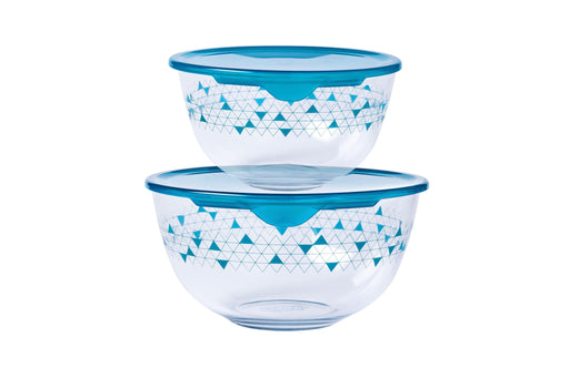 Pyrex 913S043 Set of 2 round Cook & Store Glass Storage Set - blue lids exxab.com