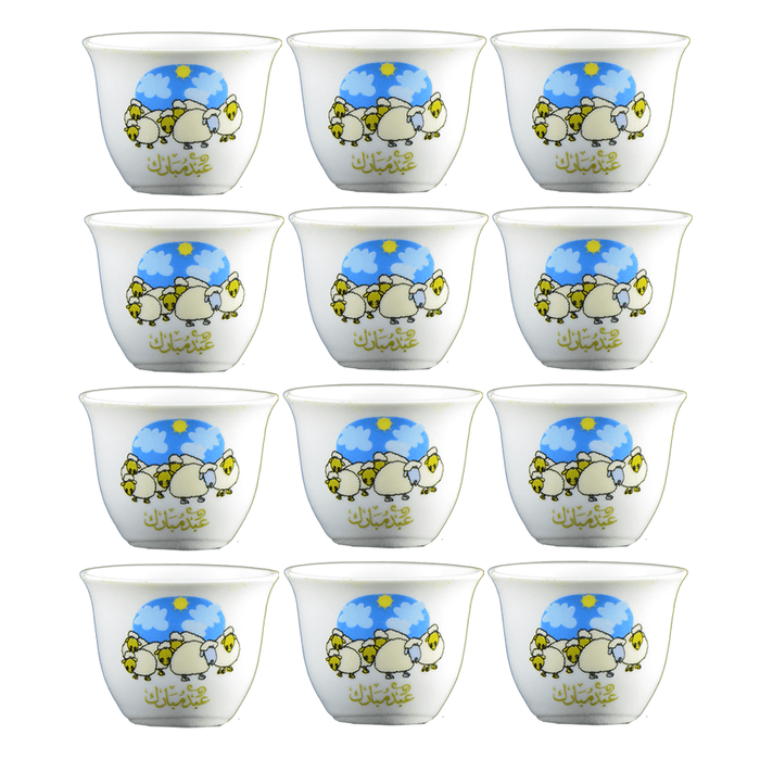 Arabic coffee cups Eid AlAdha-pattern 12 pcs exxab.com