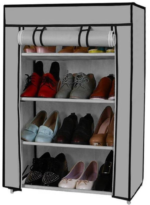 Portable Folding Shoes Rack With Fabric Cover 4 Layers exxab.com