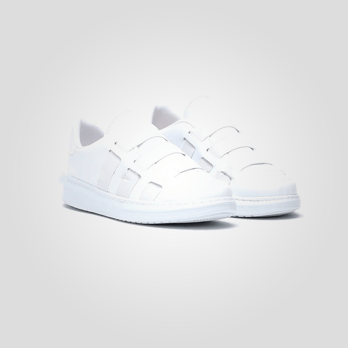 "Women's White flat sports shoes, modern design size ""38"" - exxab.com"