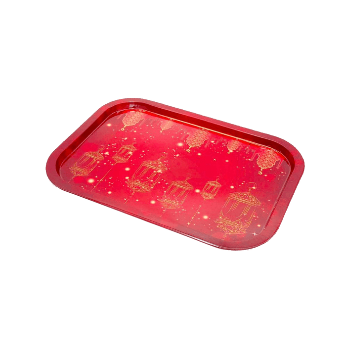 Ramadan's matlic tray decorative with red color & gold lantern exxab.com