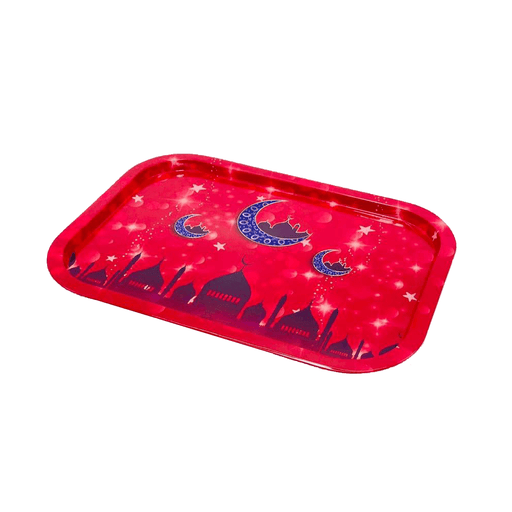 Ramadan's matlic tray decorative with red color & mosque pattern