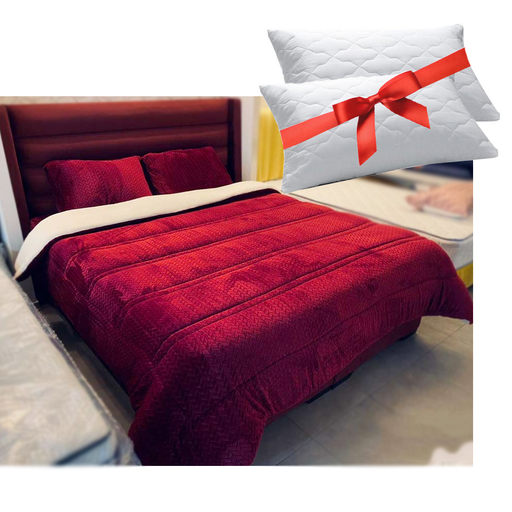 Double Winter Fur Bed Set With 2 Bed Pillows Gifts exxab.com