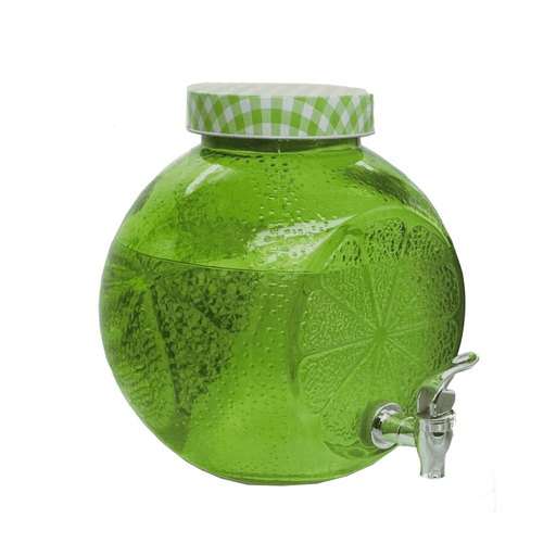 Glass water dispenser with tap in orange shape 5L exxab.com