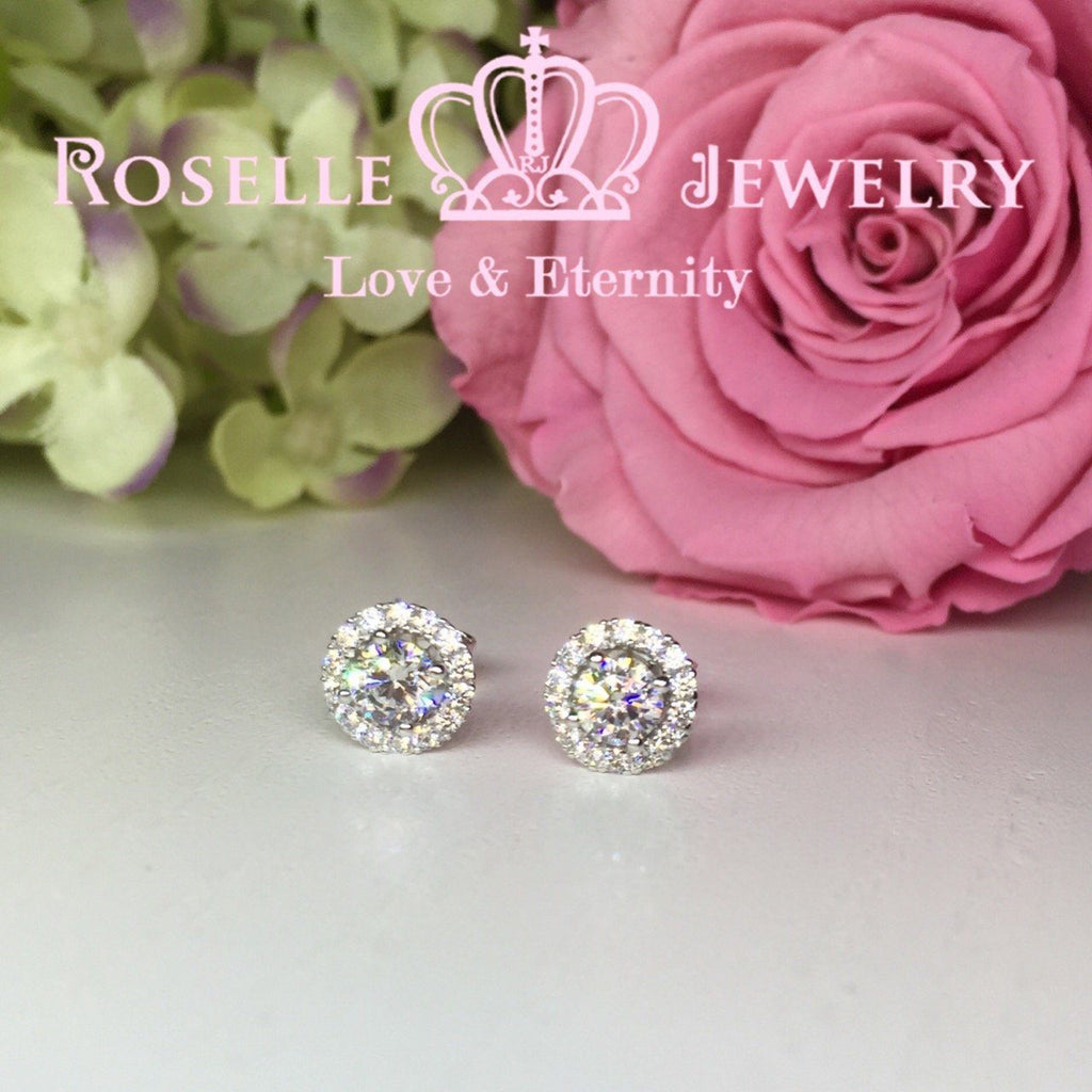Detachable Halo Stud Earrings - RR1 - Roselle Jewelry