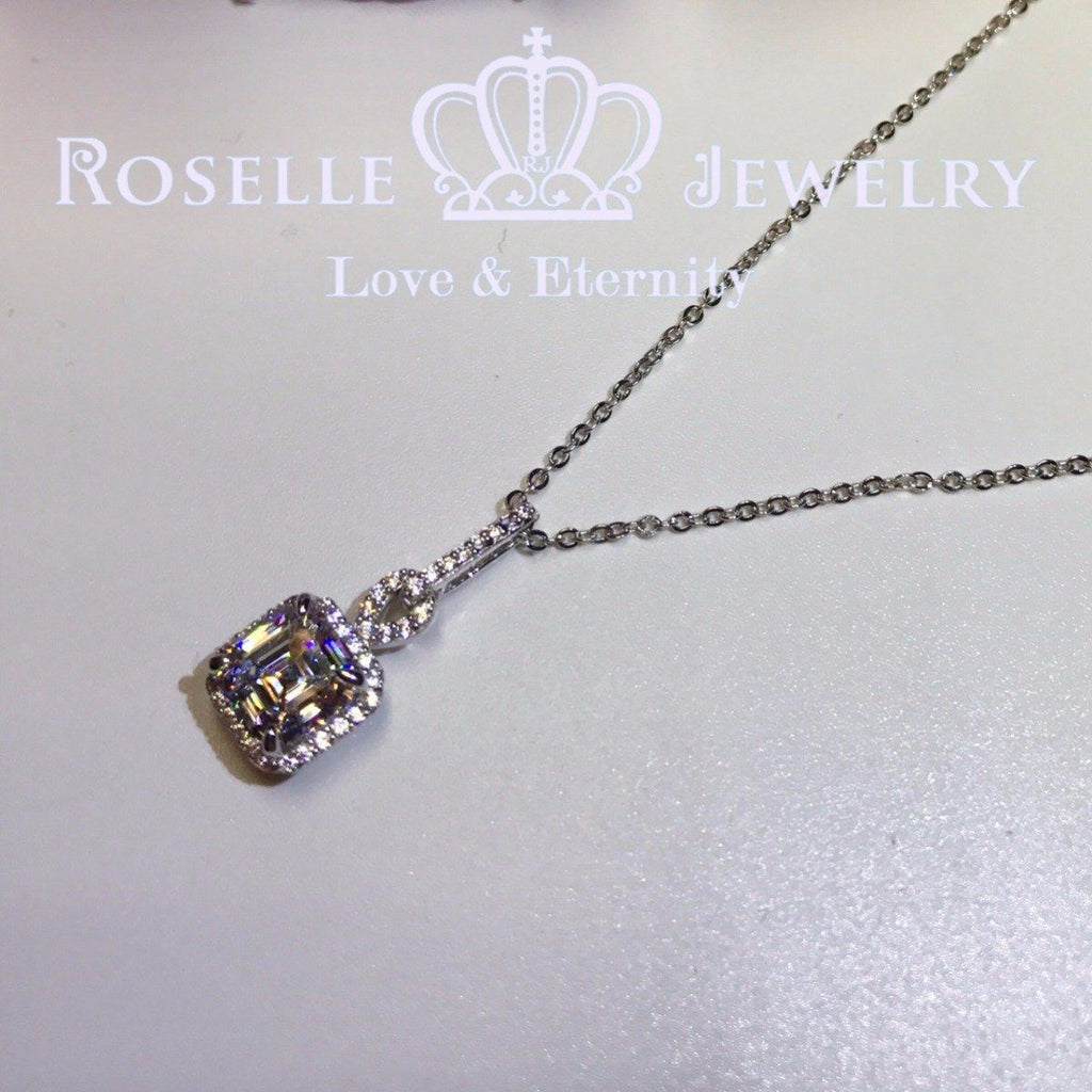 Halo Asscher Drop Pendants - CA1 - Roselle Jewelry