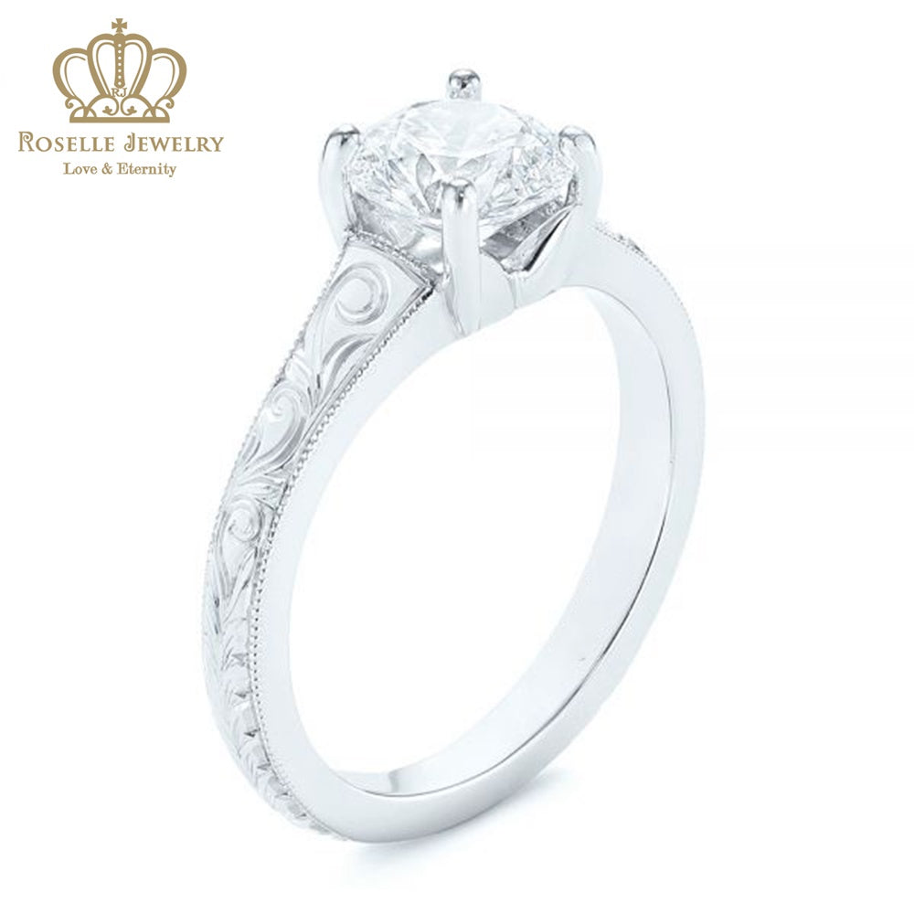 CHARLISA™ Hand Engraved Solitaire Diamond Engagement Ring- EC003 - Roselle Jewelry
