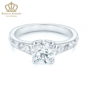 CHARLISA™ Hand Engraved Solitaire Diamond Engagement Ring- EC003