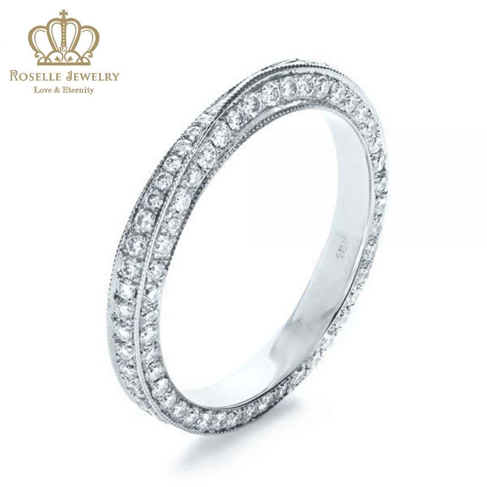 Charlisa™ Bright Cut Diamond Eternity Band Wedding Rings - WC001 - Roselle Jewelry