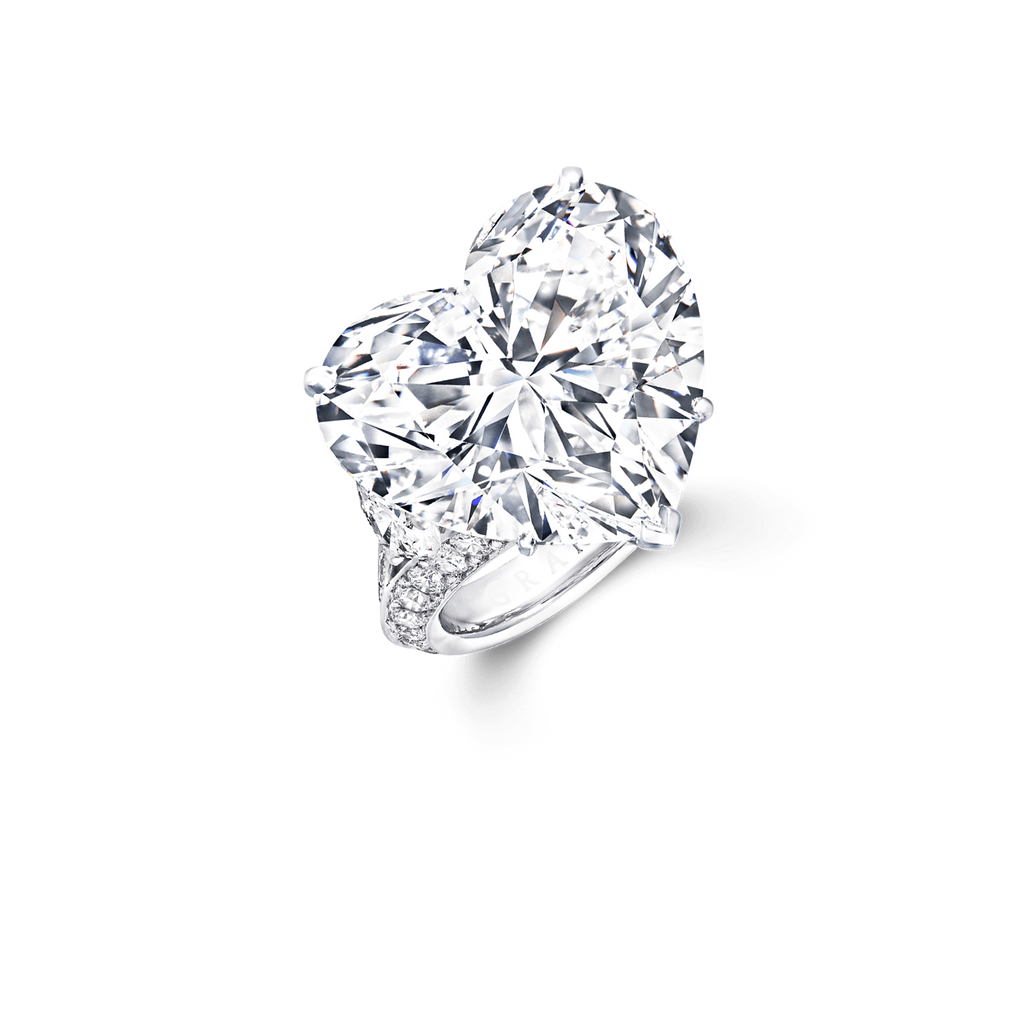 18K White Gold Heart Shape Side Stone Customize Engagement Ring - TH10 - Roselle Jewelry