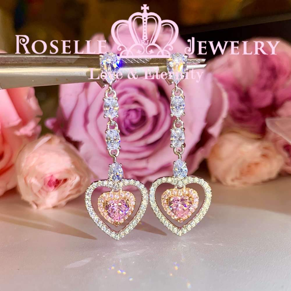 Heart Shape Drop Earrings - EH3 - Roselle Jewelry