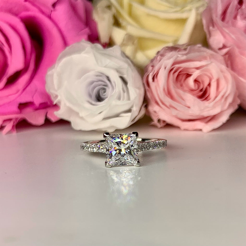 Princess Cut Side Stone Engagement Ring - TS3 - Roselle Jewelry