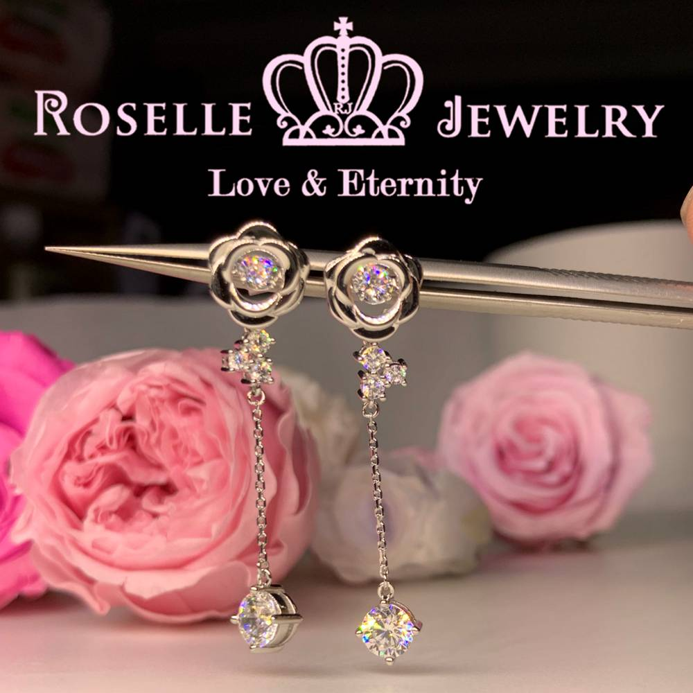 Rose Floral Dancing Stone Drop Earrings - ED5 - Roselle Jewelry