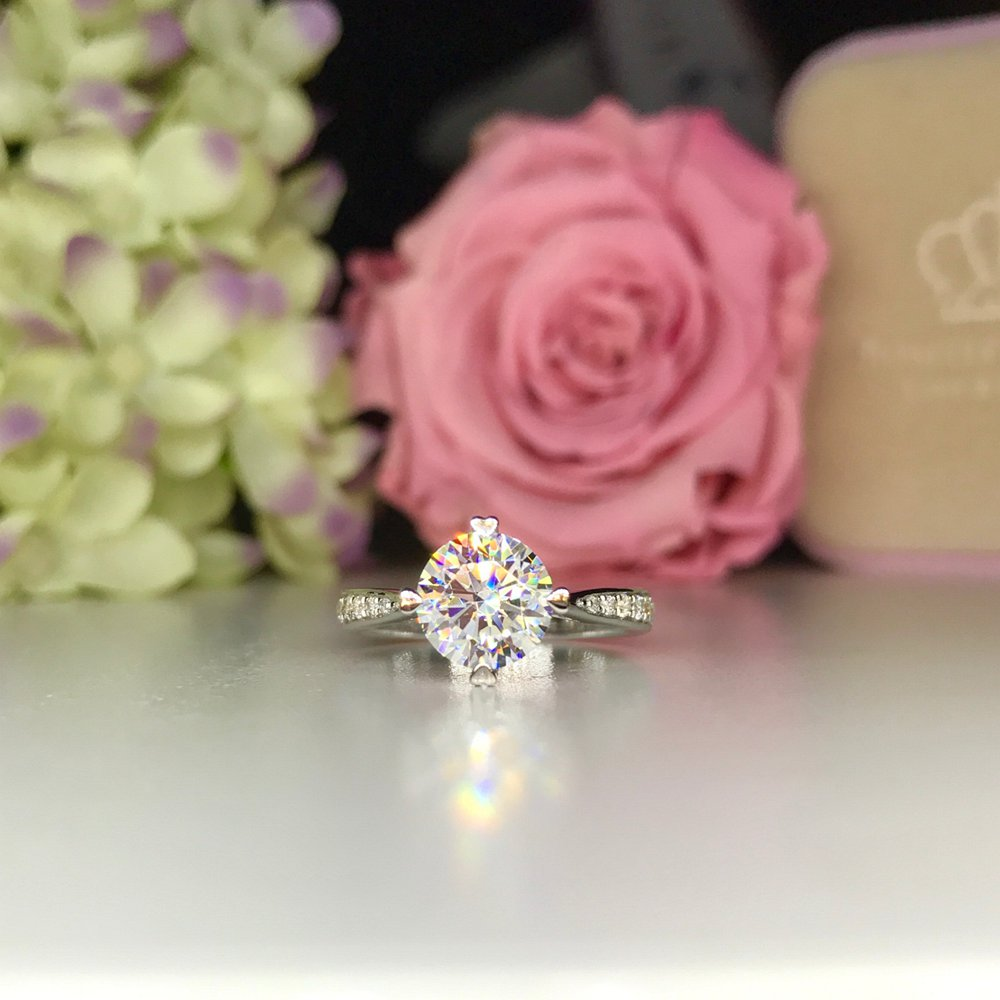 Heart Shape Prong Side Stone Engagement Ring -T13 - Roselle Jewelry