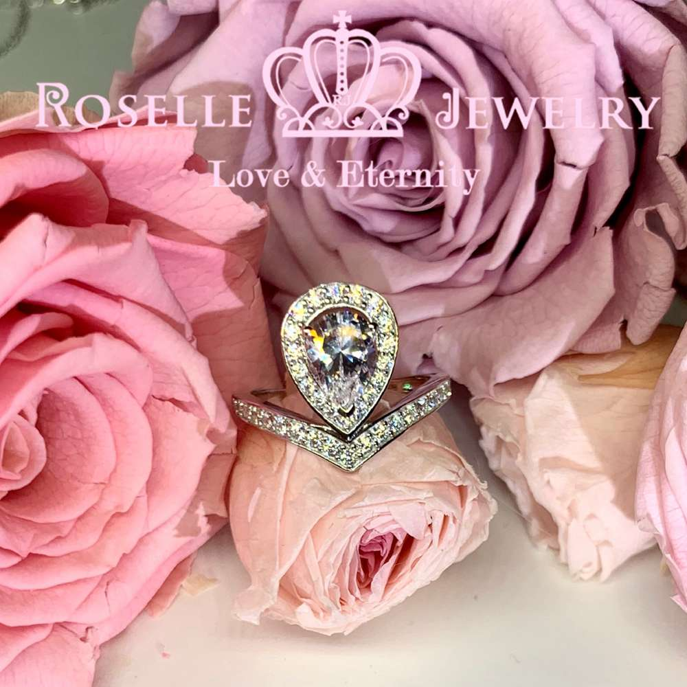 Pear Cut Crown Engagement Ring - VP5 - Roselle Jewelry