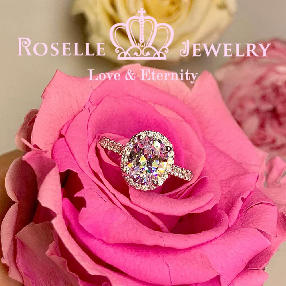Oval Halo Engagement Ring - VO2 - Roselle Jewelry