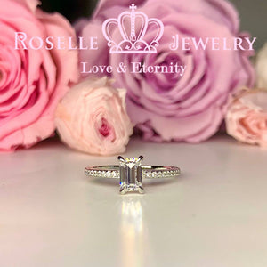Emerald Cut Side Stone Engagement Ring - TE2